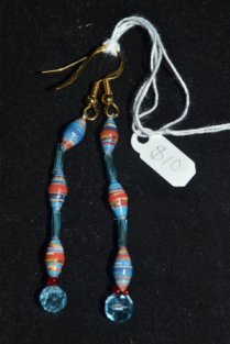crystal dangles - paper & plastic beads with nylon thread