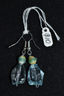 wire-wrapped paper beads and plastic crystal dangles