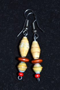 wire dangles with paper and wooden beads