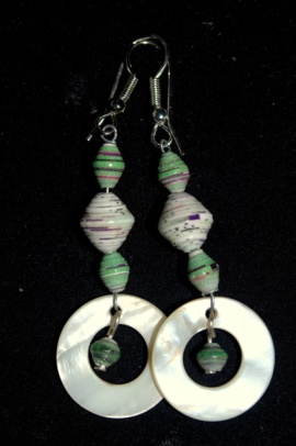Paper beads and shell rounds on wire
